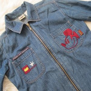 Denim Disney mickey mouse embroidered jacket